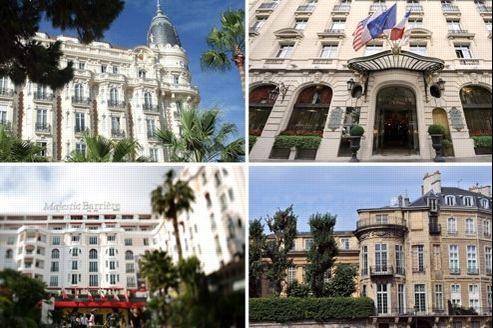 Le Carlton de Cannes (en haut à gauche), le Raffles à Paris (en haut à droite), le Majestic de Cannes (en abs à gauche) et l'hôtel Lambert à Paris (en bas à droite).