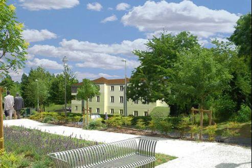 Dessin d'architecte représentant la future maison de retraite de Courcouronnes, dans le département de l'Essonne.