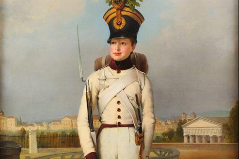 Portrait du duc de Reichstadt (Napoléon II) en uniforme blanc de sergent-major du 1er régiment d'infanteriepar Peter Krafft (estimation 200.000 à 250.000 €).