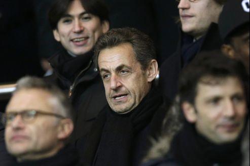 Nicolas Sarkozy au Parc des Princes, à Paris, le 24février.