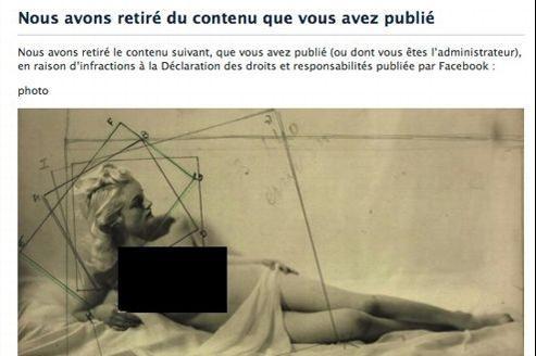 La photo censurée, telle qu'elle a été republiée par Facebook.Crédit photo: Capture d'écran/Facebook