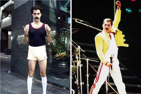 Sacha Baron Cohen (gauche) jouera Freddie Mercury.