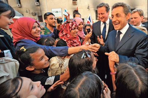 En compagnie du premier ministre britannique, David Cameron, Nicolas Sarkozy s'était rendu à Benghazi le 15 septembre 2011.