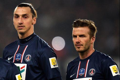 Zlatan Ibrahimovic (à gauche) et David Beckham.