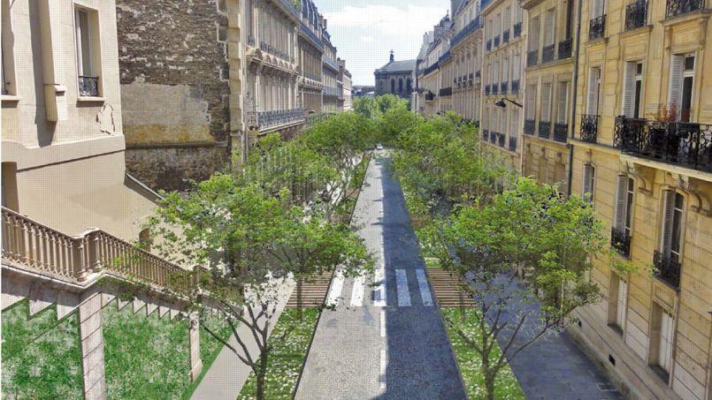 Le projet de «verdissement», rue Portalis dans le VIIIe. On perdrait 46 places de stationnement et on gagnerait 30 arbres!
