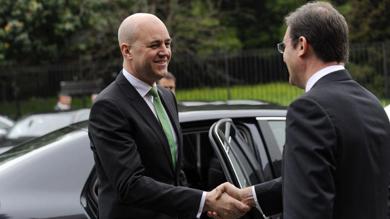 Le premier ministre suédois Fredrik Reinfeldt, fin mars, lors d'une rencontre avec son homologue portugais Pedro Passos Coelho.
