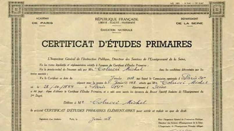 Un exemplaire du certificat d'études. Crédits photo: DR