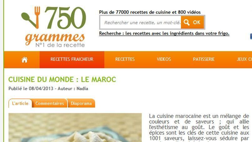 750g vise le même succès que le pionnier du genre, Marmiton.org. (Capture d'écran).