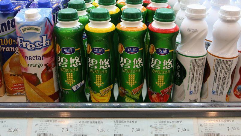 Des yaourts liquides Danone vendus en Chine.