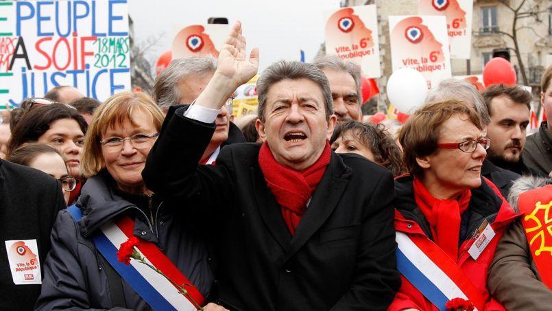 Jean-Luc Melenchon, lors de la «Marche pour la VIe République», le 18 mars 2012 à Paris.