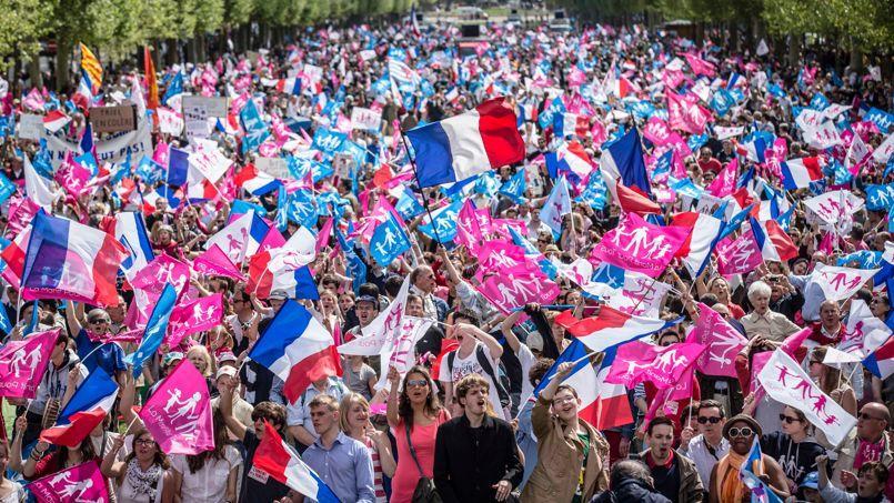 Le rassemblement de la Manif pour tous a réuni environ 15000 personnes selon la police, dimanche, avenue de Breteuil, à Paris