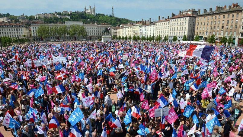 Les anti-mariage gay étaient plus de 20.000 à Lyon, selon les organisateurs.
