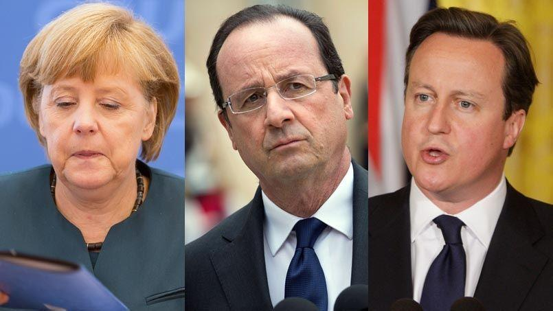 Angela Merkel, François Hollande et David Cameron.