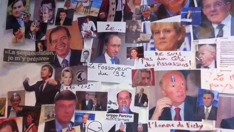 Le «mur des cons» que l'on pouvait apercevoir dans les locaux du Syndicat de la magistrature, à Paris.