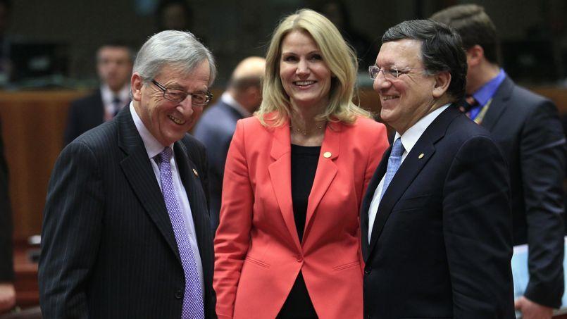 Le premier ministre luxembourgeois, Jean-Claude Juncker, et son homologue danoise, Helle Thorning-Schmidt, en discussion avec le président de la Commission européenne, José Manuel Barroso, en mars dernier, à Bruxelles.