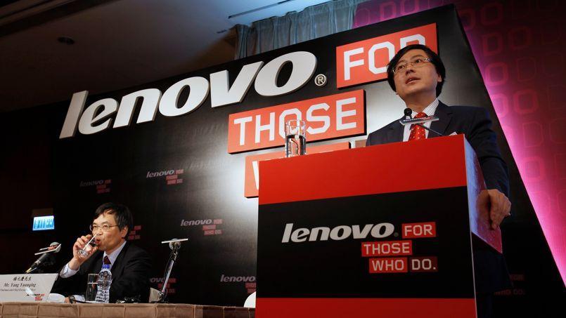 Yuanqing Yang, PDG de Lenovo, lors de la présentation des résultats du groupe, jeudi à Hongkong.