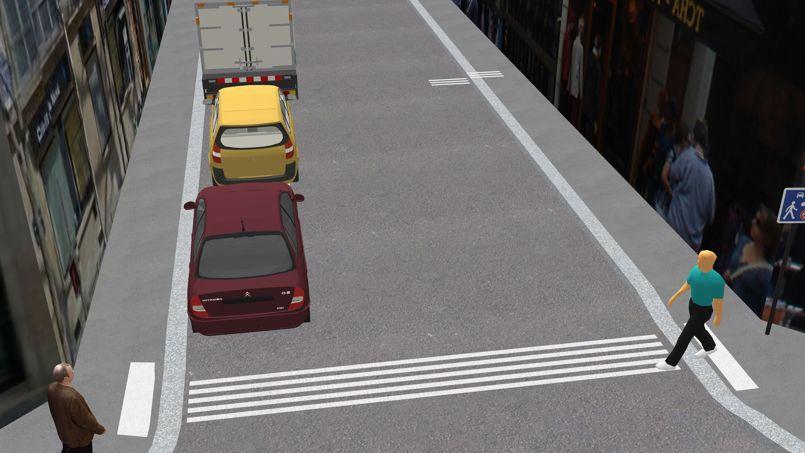 Plusieurs nouveaux passages piétons vont être testés. Sur celui-ci, les lignes inversées indiquent que c'est désormais la voiture qui traverse le territoire du piéton.