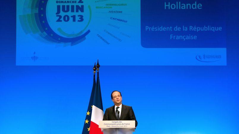Francois Hollande, dimanche, devant le deuxièmecongrès des communautés juives de France, à Paris.