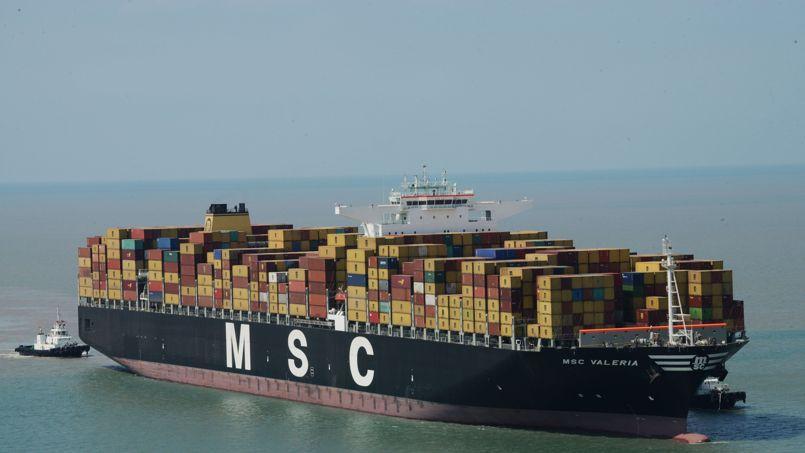 Le porte-conteneur MSC Valeria de la compagnie maritime méditerranéenne S.A.