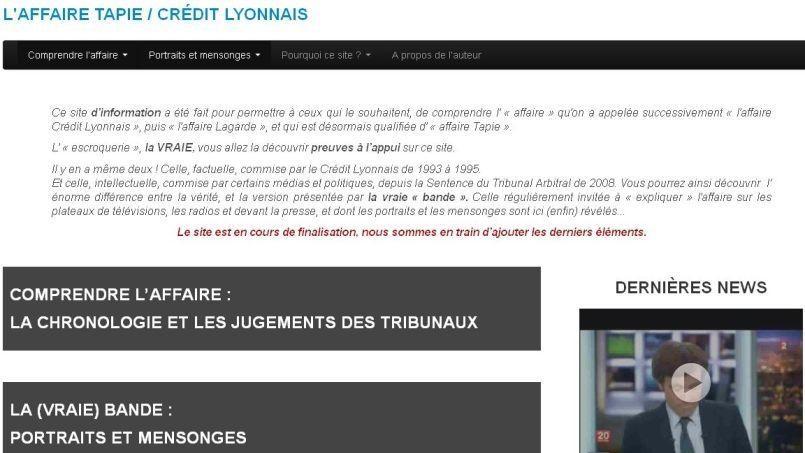 Capture d'écran du site affairetapie.info réalisée mardi.