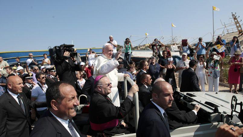 Le pape François lundi sur l'île de Lampedusa.