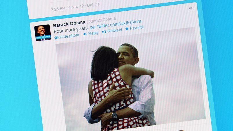 Le tweet de Barack Obama pour annoncer sa réélection le 7 novembre à la tête des États-Unis.