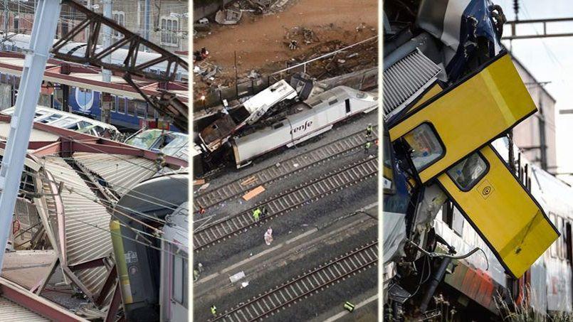 De gauche à droite, les accidents de trains survenus à Brétigny-sur-Orge, en France, à Saint-Jacques-de-Compostelle, en Espagne, et à Granges-près-Marnand, en Suisse.