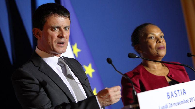 Manuel Valls et Christiane Taubira en déplacement en Corse, en novembre 2012.