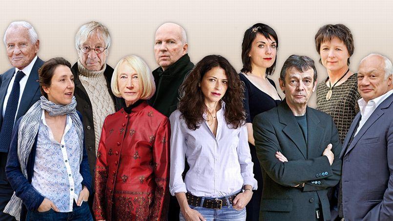 De gauche à droite, Jean d'Ormesson, Marie Darrieussecq, Jean-Louis Fournier, Chantal Thomas, Jean-Philippe Toussaint, Karine Tuil, Véronique Ovaldé, Pierre Lemaitre, Claudie Gallay et Éric-Emmanuel Schmitt.
