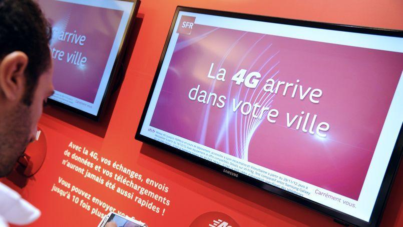 Une borne de découverte de la 4G dans une boutique SFR.