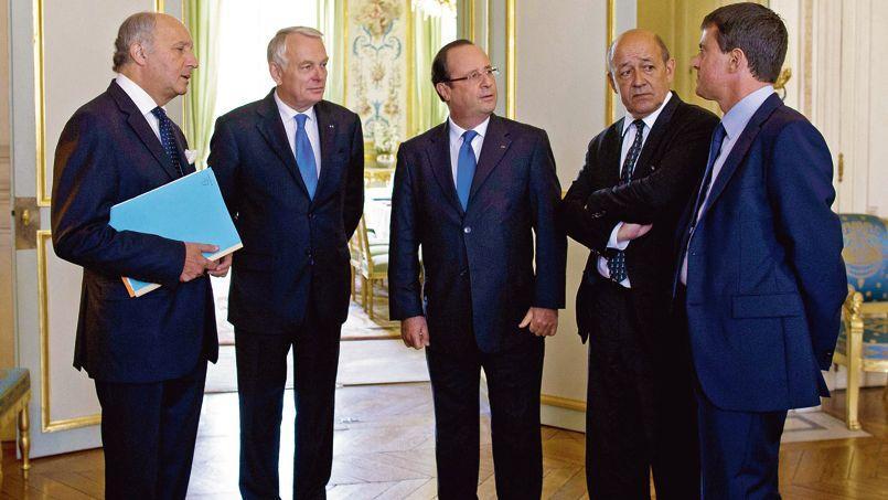 À l'Élysée, avant le conseil national de défense qui s'est tenu, mercredi 28août, sur la Syrie.