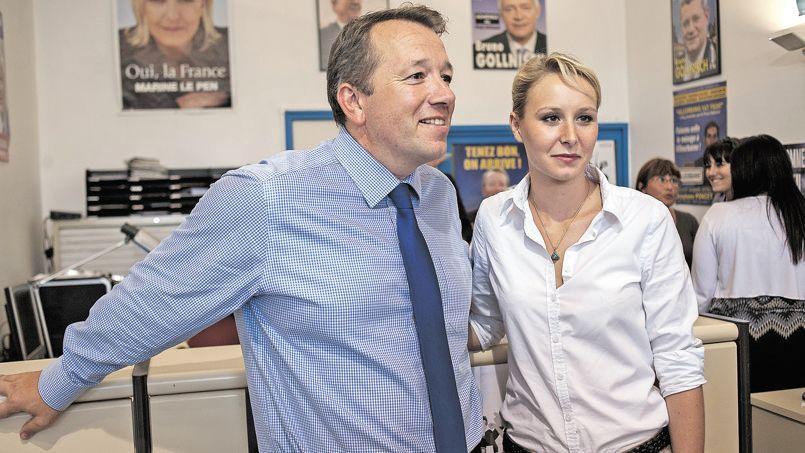 Le candidat du Front national à Lyon, Christophe Boudot (ici en compagnie de la députée FN, Marion Maréchal-Le Pen) est crédité de 11% des voix pour les prochaines municipales.