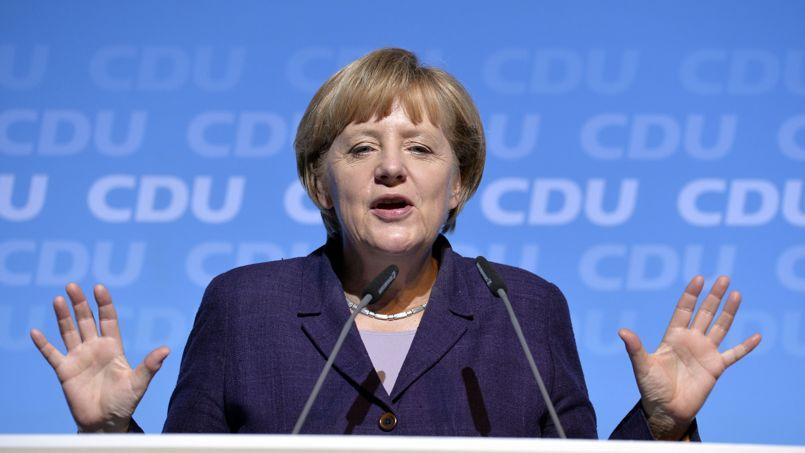 Angela Merkel en campagne au Park Europa à Rust, dans le sud-ouest de l'Allemagne, mardi.