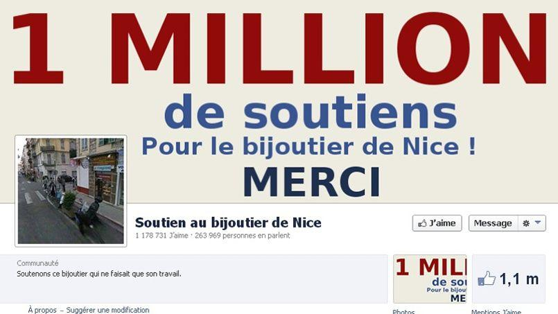 Capture d'écran de la page Facebook soutenant le bijoutier de Nice.