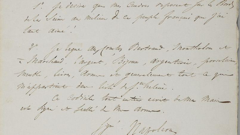 «Je désire que mes cendres reposent sur les bords de la Seine au milieu de ce peuple français que j'ai tant aimé», écrit Napoléon, le 16 avril 1821, dans son testament.