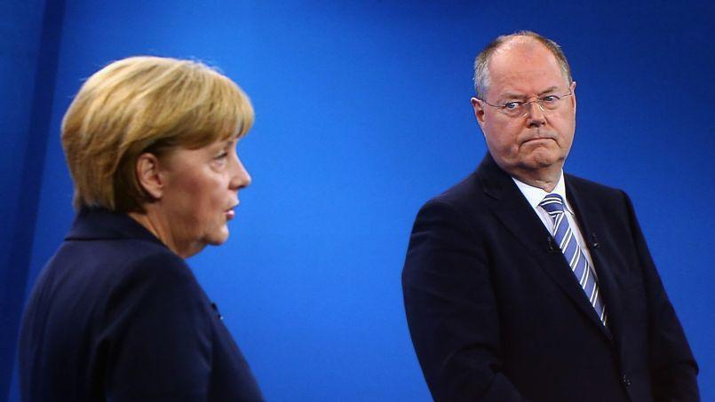 La chancelière Angela Merkel et Peer Steinbrück lors du débat télévisée du 1 er septembre à Berlin.