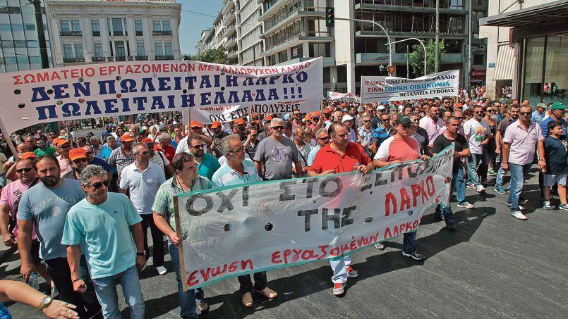 Manifestants des secteurs miniers et de la métallurgie, à Athènes le 10 septembre.