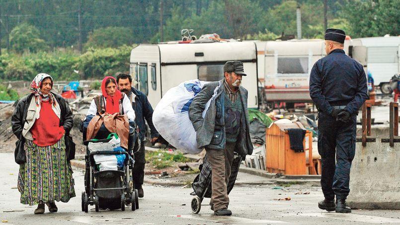Démantèlement d'un camp de Roms à Lille, le 18 septembre.