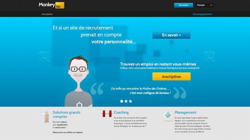 La homepage du site de recrutement MonkeyTie.