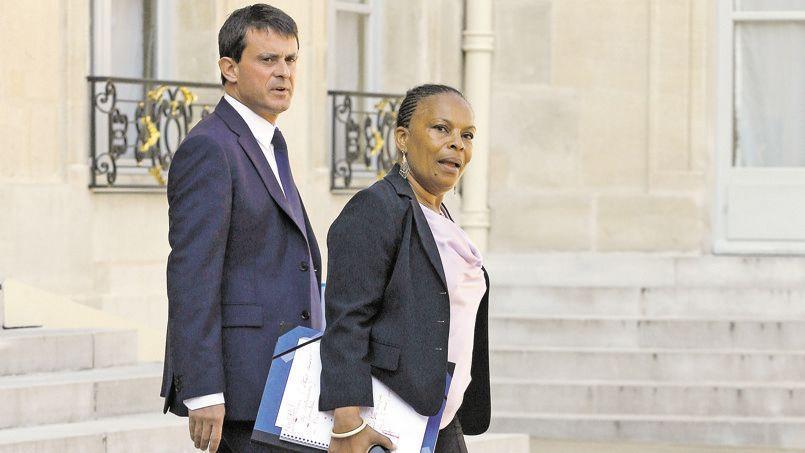 Le ministre de l'Intérieur, Manuel Valls, et la garde des Sceaux, Christiane Taubira, le 30 août dernier à la sortie de l'Élysée.