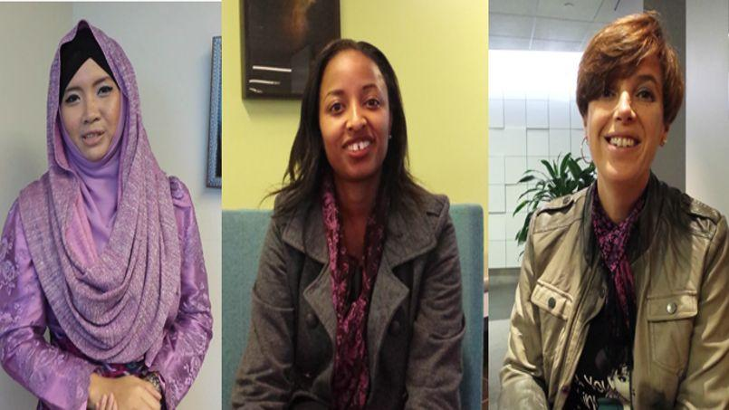 Ollie entrepreneuse d'Indonésie, Hope entrepreneuse du Keynia et Sandra entrepreneuse du Portugal