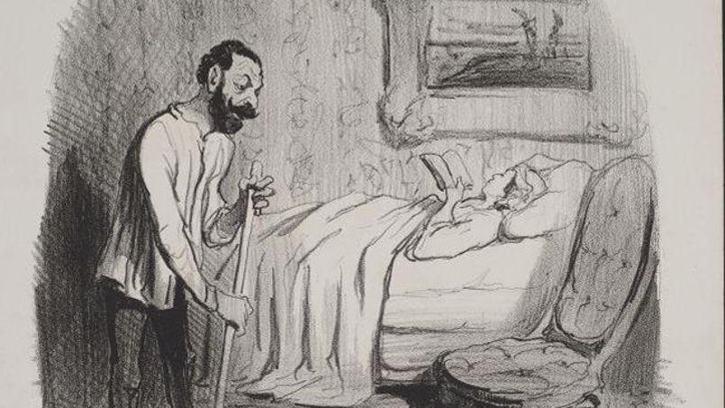Mœurs conjugales: un intérieur Parisien, lithographie d'Honoré Daumier, 1842.