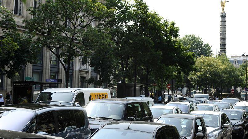Un embouteillage près de la place du Chatelet, à Paris.