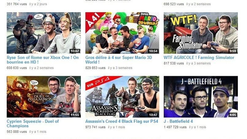 Capture d'écran de la chaîne de célèbres YouTubers français, Cyprien et Squeezie