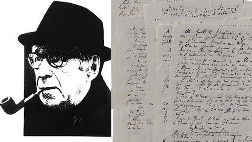 À gauche Georges Simenon et sa célèbre pipe, à droite, une photo des  manuscrits de La Disparition d'Odile. ©Artcurial