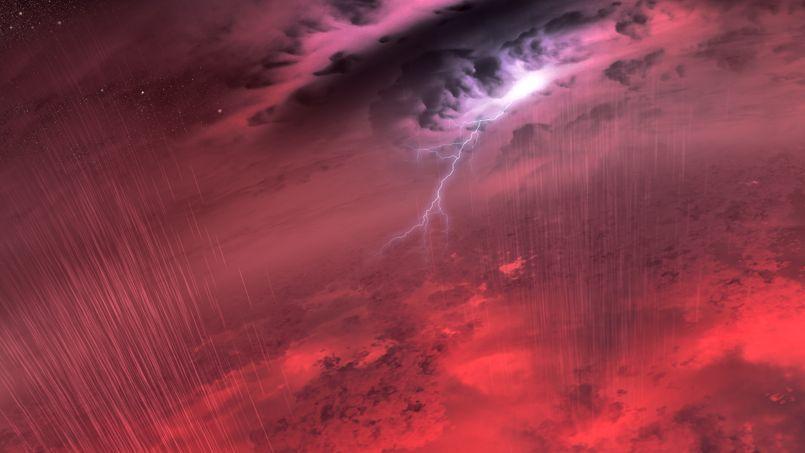Vue d'artiste d'un orage cataclysmique sur une naine brune.