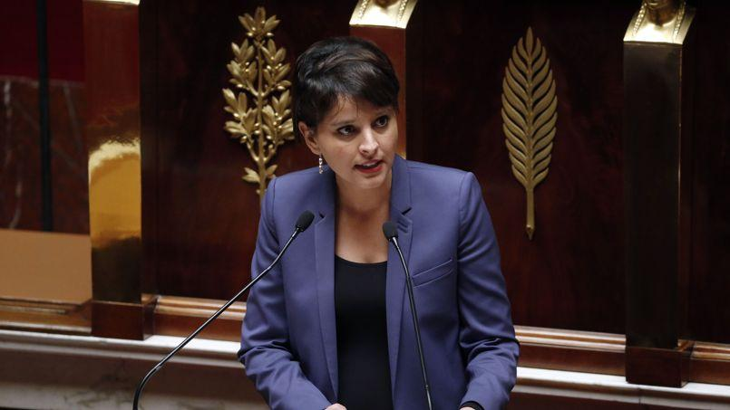 Najat Vallaud-Belkacem, lundi, lors de l'examen de son texte sur l'égalité femmes-hommes.