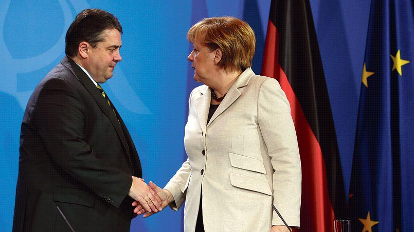 Angela Merkel et son vice-chancelier et ministre de l'économie, Sigmar Gabriel.