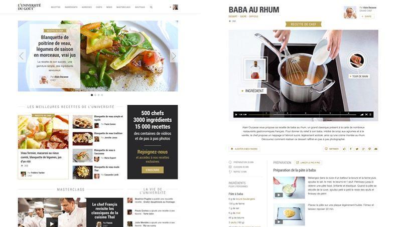 Maquettes du futur site «L'Université du goût» d'Alain Ducasse: à gauche la homepage, à droite une fiche recette.