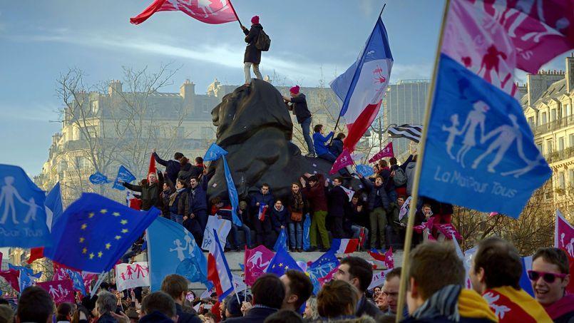 Le défilé de la Manif pour tous ce dimanche à Paris.
